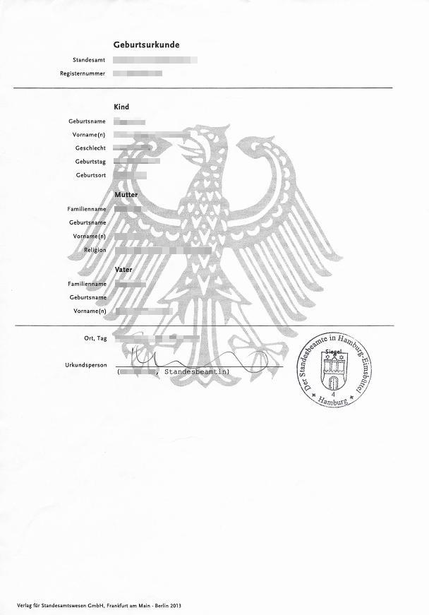 Deutsche Geburtsurkunde - DIN A4