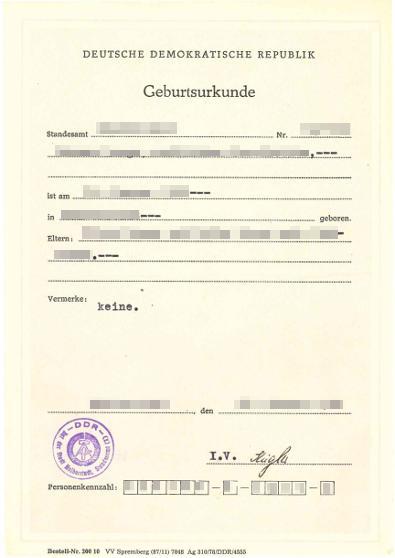 Deutsche Geburtsurkunde aus der ehemaligen DDR - DIN A5
