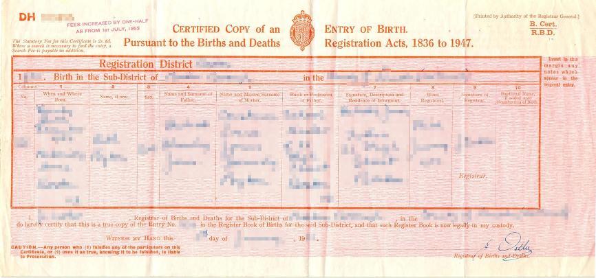 Großbritannien - Auszug aus dem Geburtenregister im Querformat - 1936 bis 1947