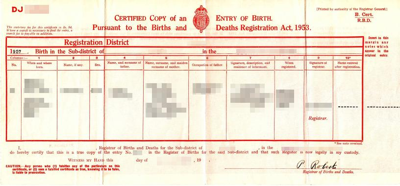 Großbritannien - Auszug aus dem Geburtenregister im Querformat - 1953