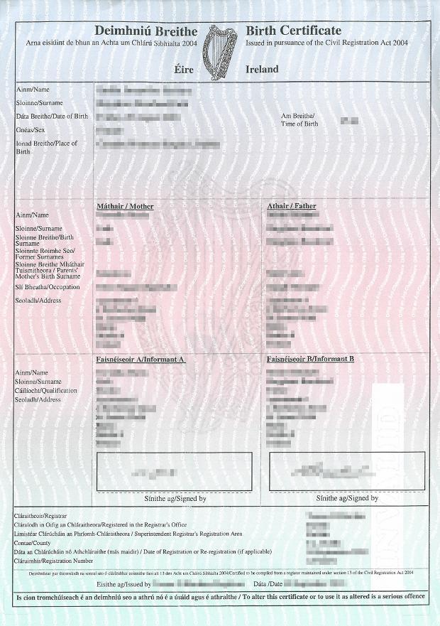 Geburtsurkunde Irland (Hochformat)