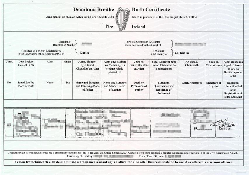 Geburtsurkunde Irland (Querformat)
